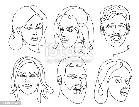 istock Set of abstract face one line drawing. Portrait Man and woman minimalist style. Vector illustration. Isolated on white background. 1148379022