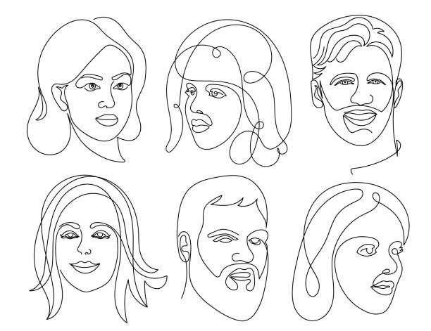 set of abstract face one line drawing. portrait man and woman minimalist style. vector illustration. isolated on white background. - portrait stock illustrations