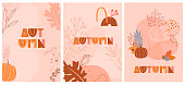 Set of abstract fall posters with autumn elements, shapes and plants in one line style. Background for mobile app page minimalistic style. Vector illustration
