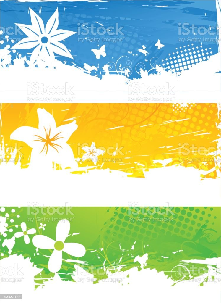 Set of abstract floral banners royalty-free stock vector art