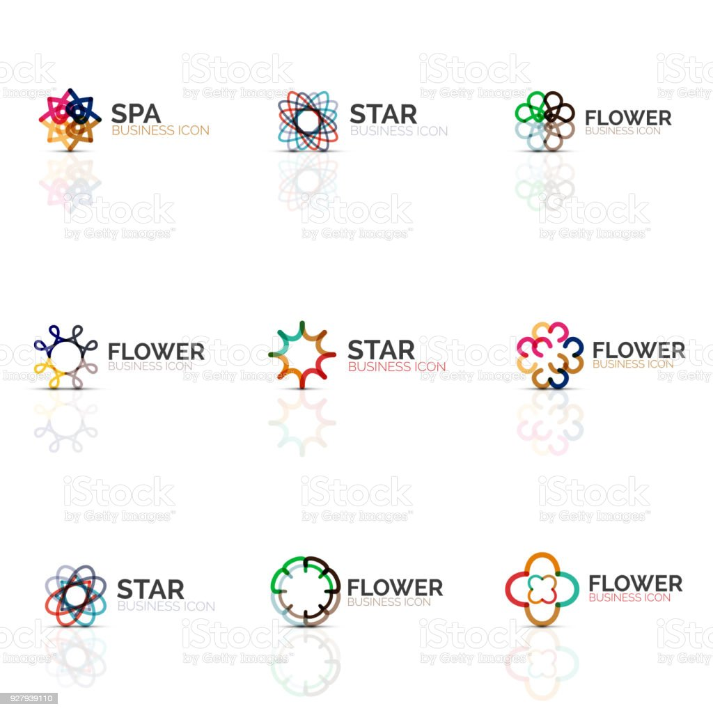 Set Of Abstract Flower Or Star Minimalistic Linear Icons Thin Line ...
