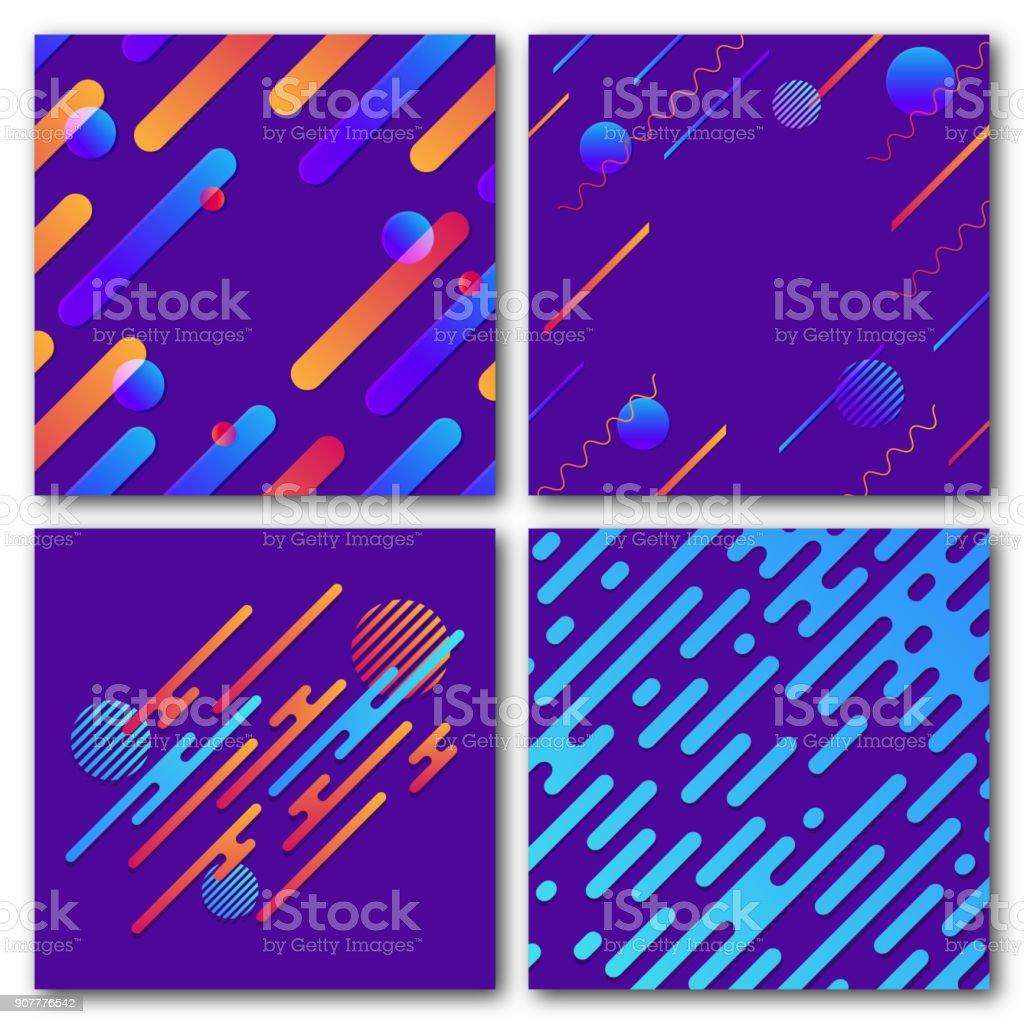 Conjunto de antecedentes geométricos abstractos. Patrón dinámico moderno. Líneas redondeadas diagonal con círculos, olas - ilustración de arte vectorial