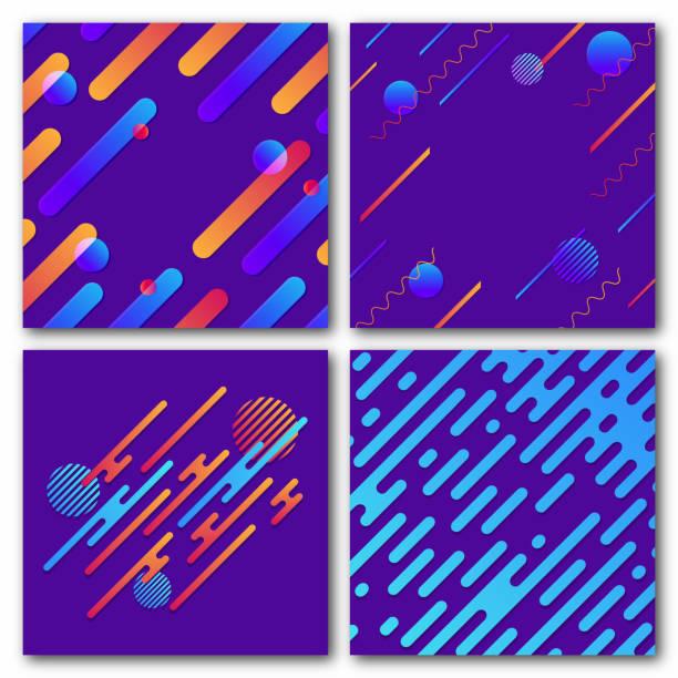 ilustraciones, imágenes clip art, dibujos animados e iconos de stock de conjunto de antecedentes geométricos abstractos. patrón dinámico moderno. líneas redondeadas diagonal con círculos, olas - fondos coloridos