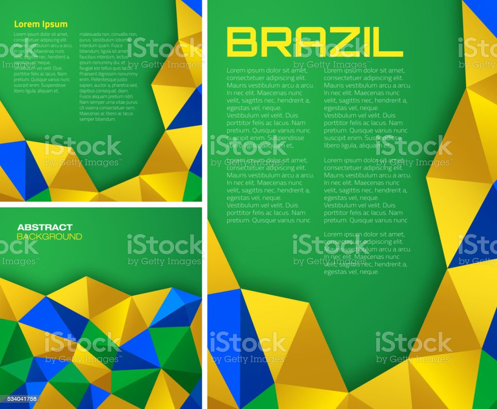 Set of Abstract geometric backgrounds using Brazil flag colors. vector art illustration