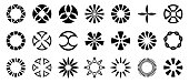 Set of abstract geometric circular shapes. Collection of symbols for your design. Isolated on white background. Design elements. Vector monochrome illustration.