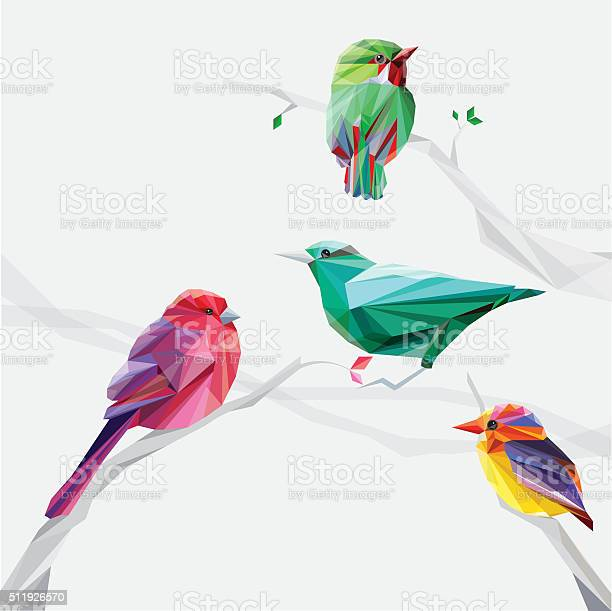 Set Of Abstract Geometric Colorful Birds Stock Illustration - Download Image Now