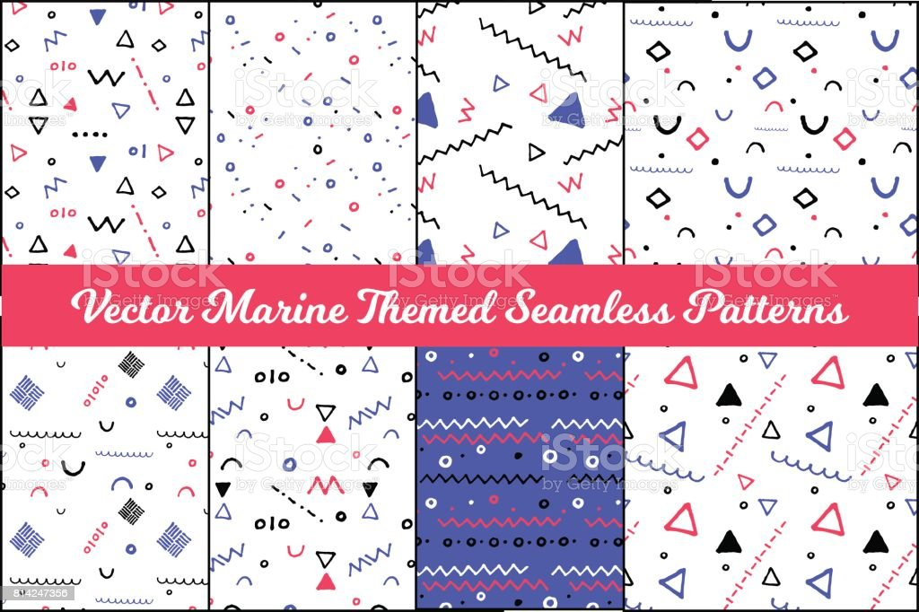 Set of abstract geometric vector seamless pattern in nautical palette