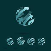 Set of Abstract Globe Logo Elements