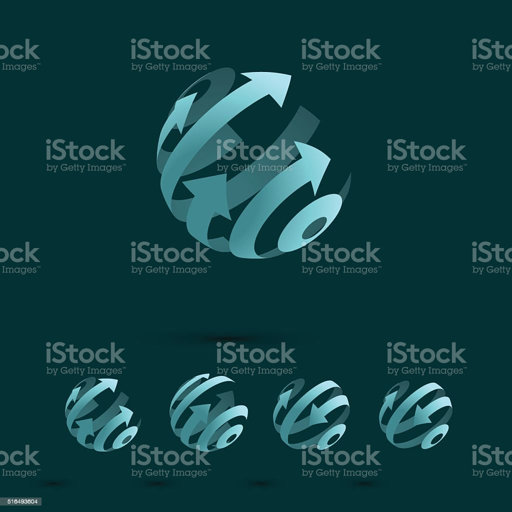Set of Abstract Globe Logo Elements vector art illustration
