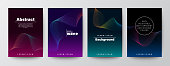 Set of abstract gradient colorful wave shape on dark background for Brochure, Flyer, Poster, leaflet, Annual report, Book cover, Banner. Minimal Graphic Design Layout template, A4 size
