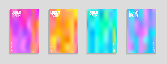 Set of abstract gradient colourful backgrounds. Modern trendy color display themes. Template design for mobile app, card, banner.