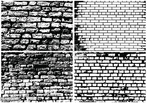 Set of Abstract Grunge Brick Wall Backgrounds in Black and White Colors. High Detailed. Ideal for Creating Musical, Autumn, Nature and Other Designs. Vector Illustration.