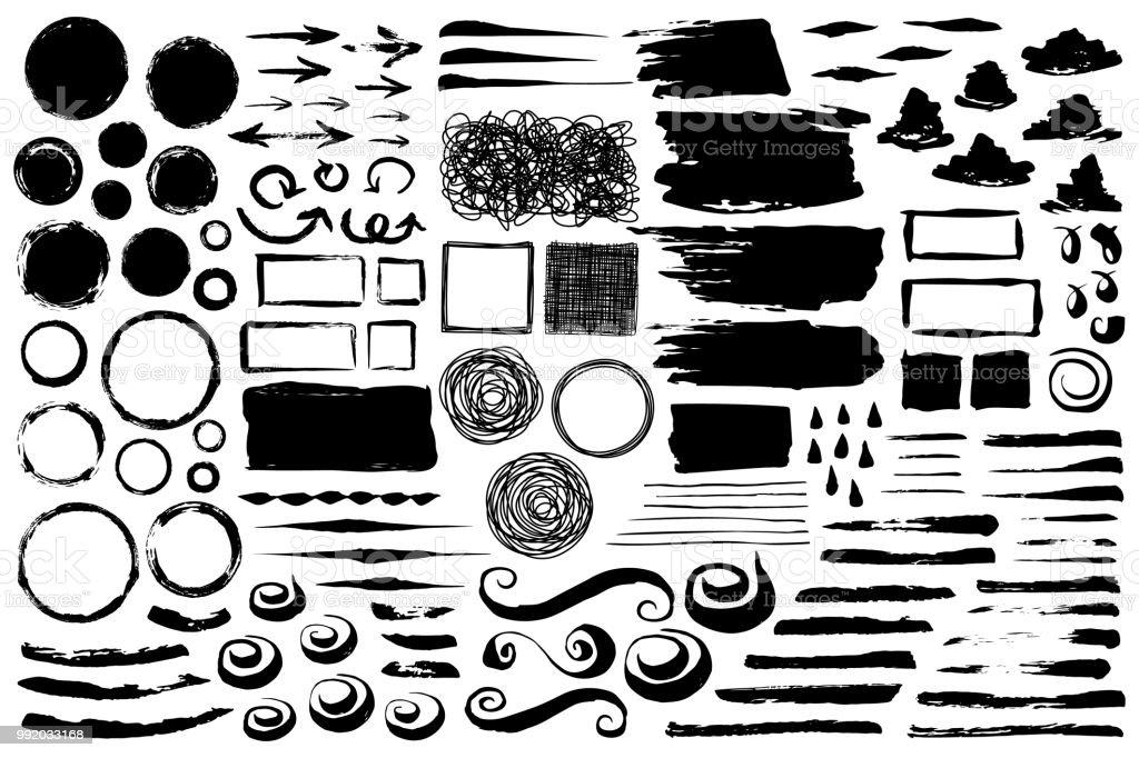 Ensemble de traits de pinceau grungy abstraite - Illustration vectorielle