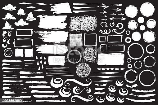 Set of abstract grungy chalk strokes, swirls, circles and frames hand painted with black chalkboard effect. Vector illustration