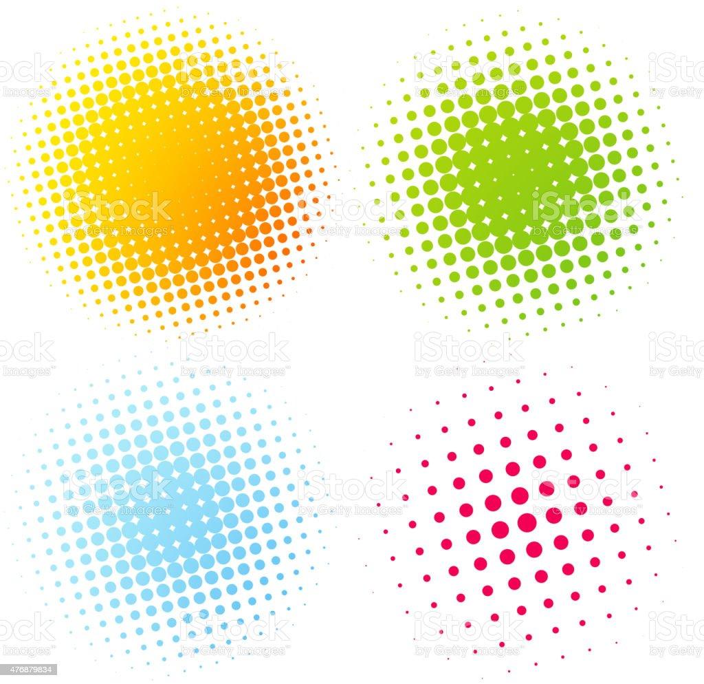 Set of Abstract Halftone Design Elements vector art illustration