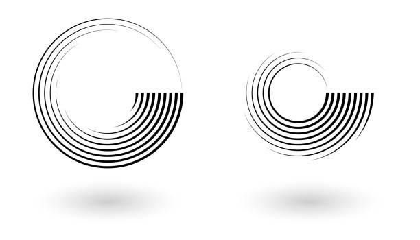 ilustrações de stock, clip art, desenhos animados e ícones de set of abstract halftone lines circle background. vector geometric swirl pattern. - repetição conceito