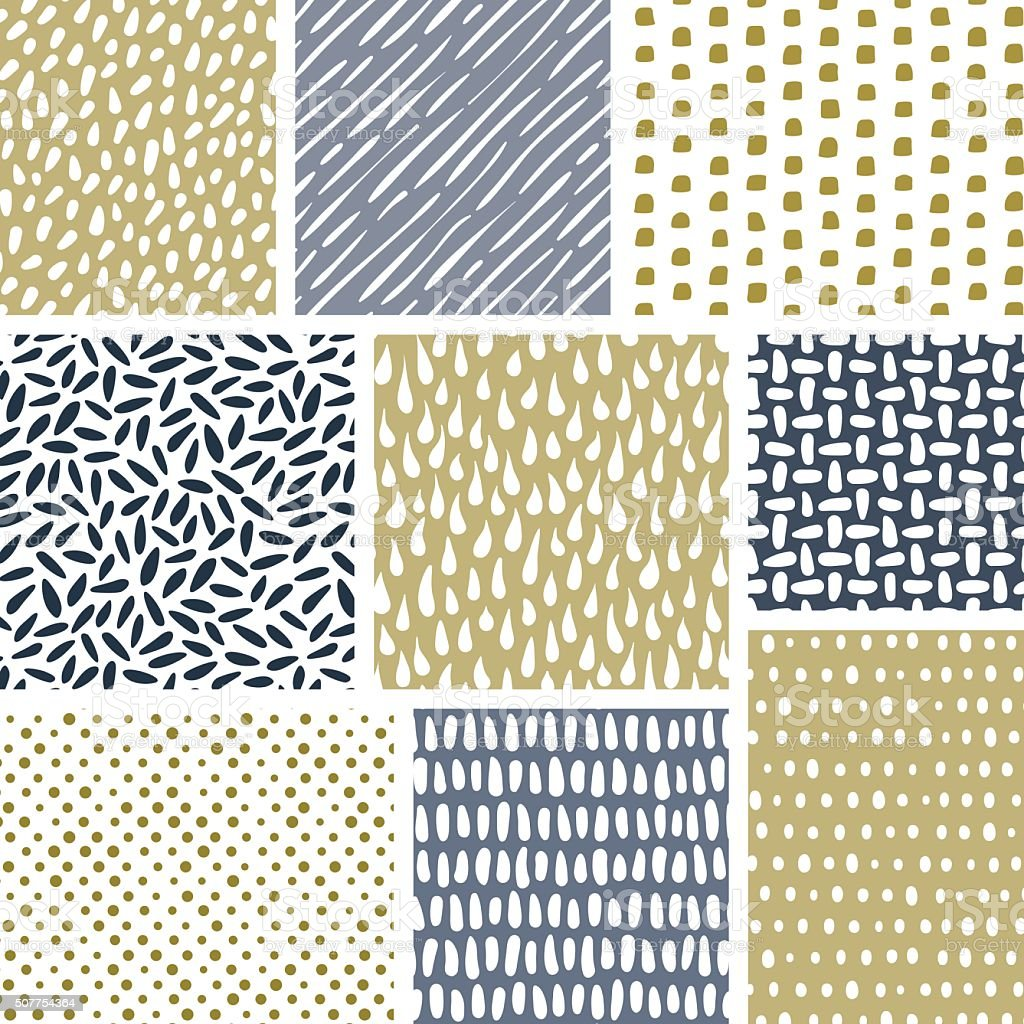 Set of abstract hand drawn textures. Vector seamless patterns royalty-free stock vector art