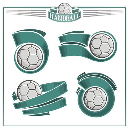 Set of abstract handball balls