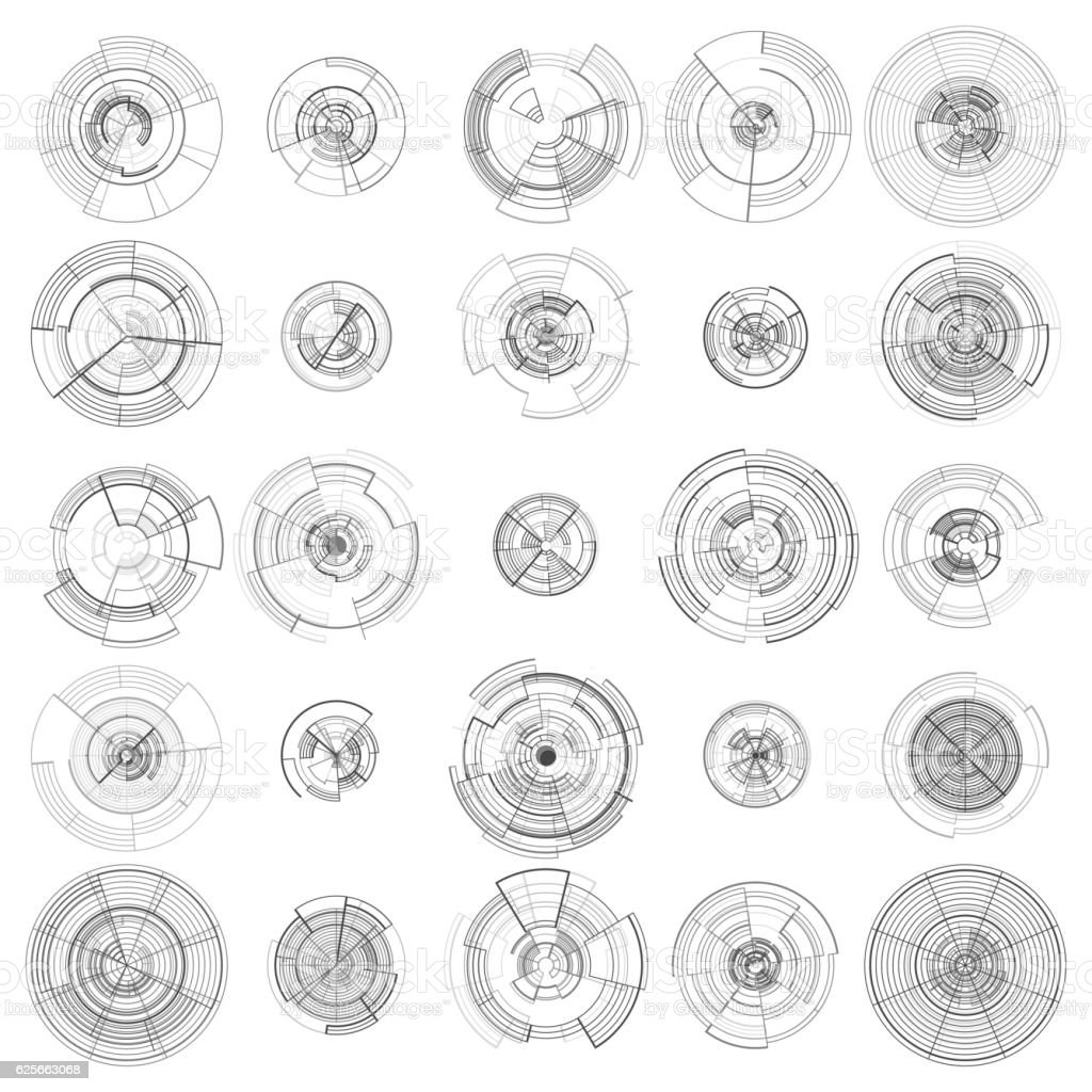 Set of abstract hud elements isolated on white background. High vector art illustration
