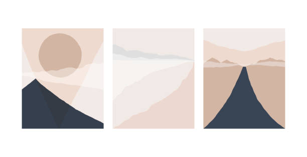 illustrazioni stock, clip art, cartoni animati e icone di tendenza di set of abstract landscape background. silhouette of mountain sky and sun geometric composition. poster of landscape in beige. taupe and navy trendy colors. vector illustration. - beige