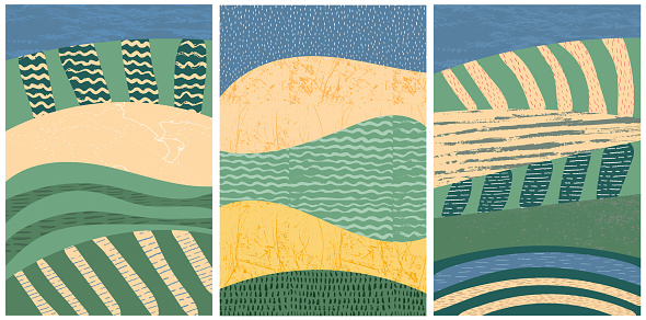 Set of abstract landscape vector background illustration. Countryside with colorful texture. Bundle of decorative eco cards. Nature, ecology, organic, environment banners