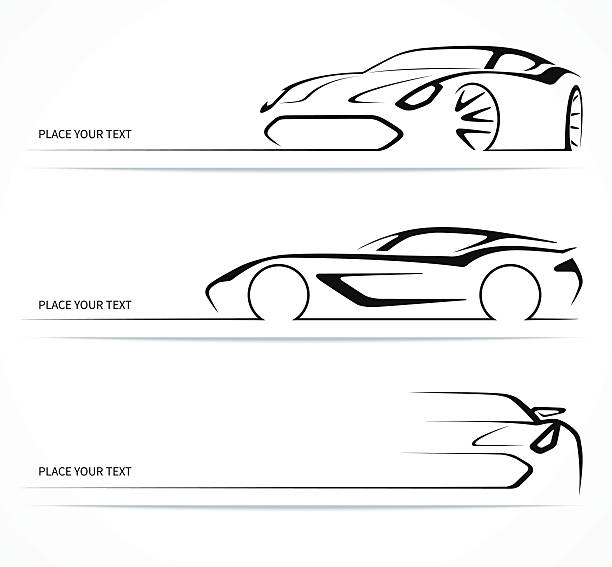 Set of abstract linear car silhouettes. Set of abstract monochrome linear sports car silhouettes. Vector illustration sports car stock illustrations