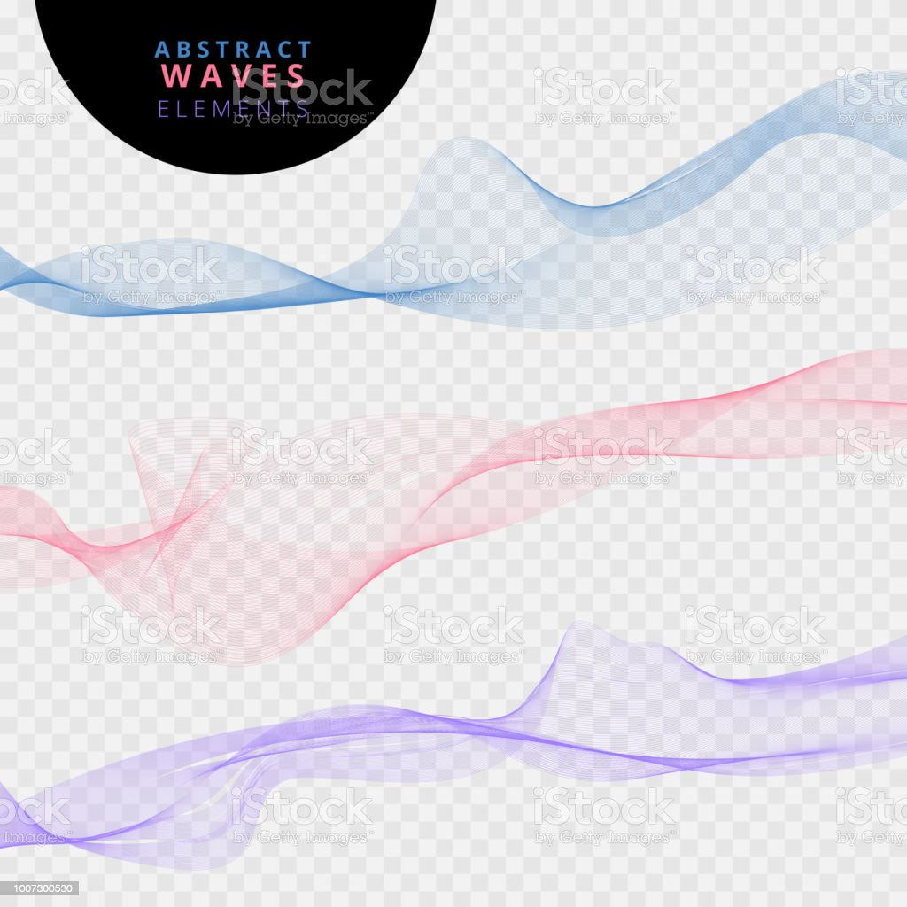 Set of abstract lines waves on transparent background. vector art illustration