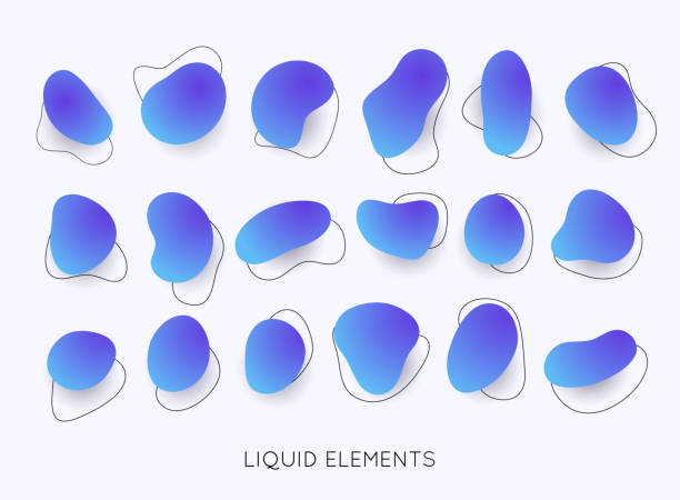 ilustrações de stock, clip art, desenhos animados e ícones de set of abstract liquid shape. gradient iridescent shapes. set isolated liquid elements of holographic design. - amiba