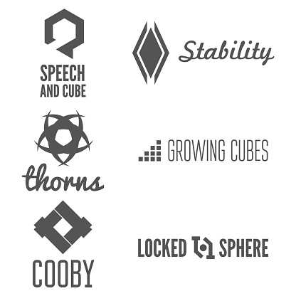 Set of abstract logo, emblem, label or logotype elements for