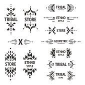 Set of abstract logo with tribal, ethnic, geometric elements, hipster logo, business label, navajo stile isolated on white background