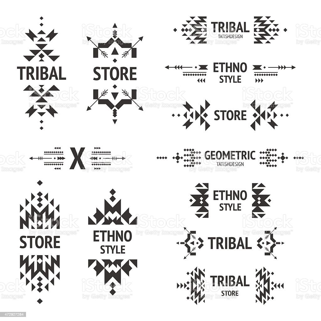 Set of abstract logos with a tribal style vector art illustration
