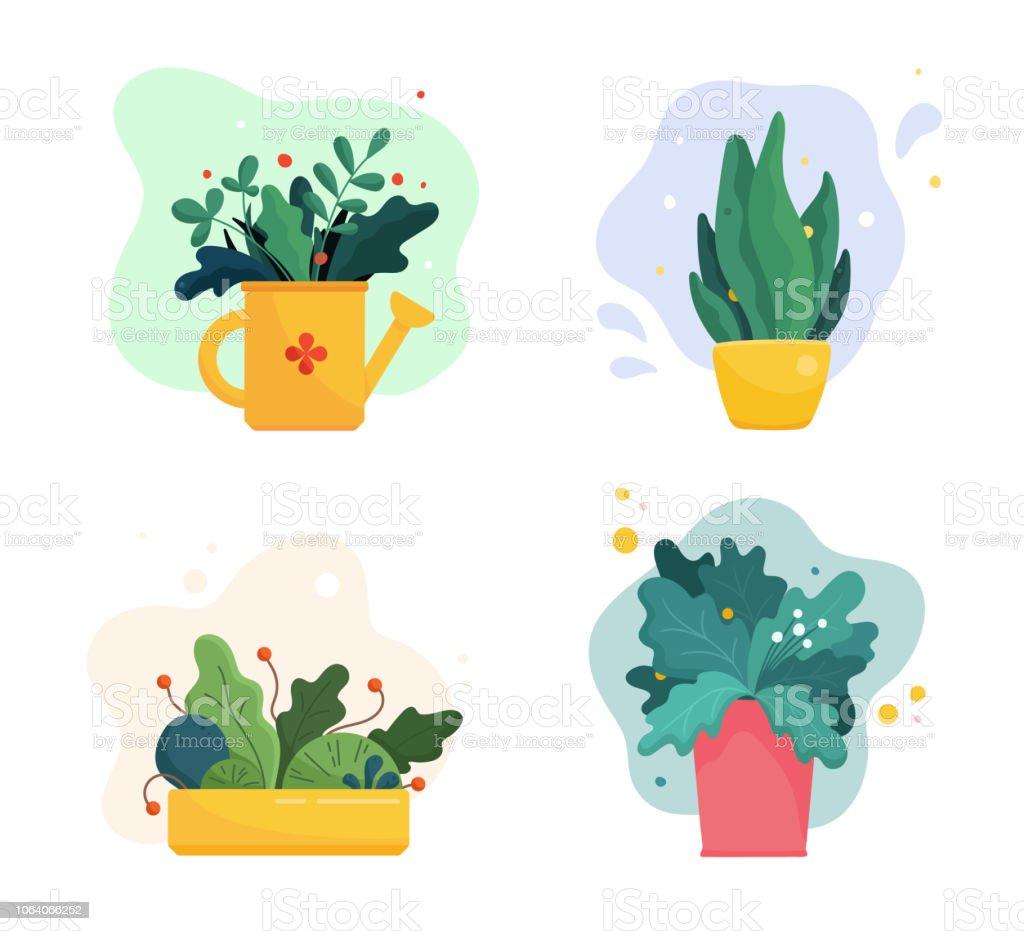 Ensemble de plantes luxuriantes abstraites dans les pots de fleurs et arrosoir. Feuilles mélangées, les fleurs et les baies. Illustration de jardinage domestique dans moderne simple plat style art. Illustration vectorielle isolée sur blanc - clipart vectoriel de Abstrait libre de droits