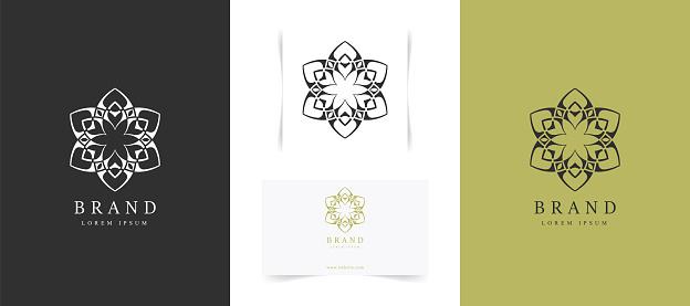 Set of abstract mandala logo design.