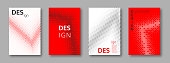 Set of abstract minimal cover designs with geometric patterns. Halftone effect. Gradient red, black and white colors. Vector illustration.