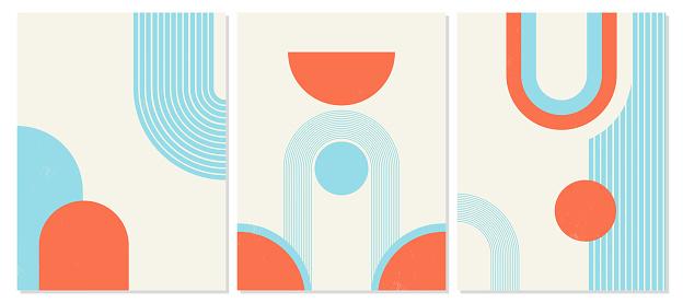 Set of vector illustrations of geometric shapes.