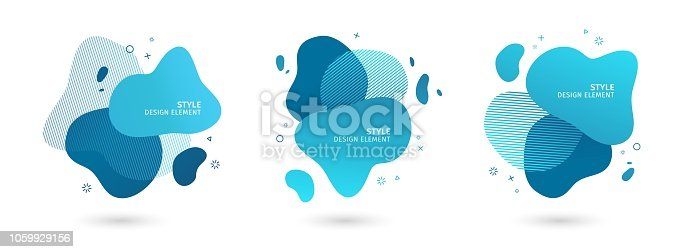 Set of abstract modern graphic elements. Dynamical blue forms and line. Gradient abstract banners with flowing liquid shapes. Template for the design of a logo, flyer or presentation. Vector.