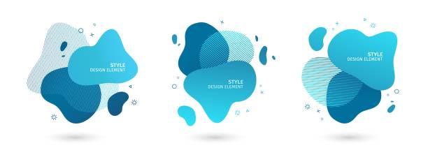 추상적인 현대 그래픽 요소의 집합입니다. 동역학 블루 폼 고 선입니다. 흐르는 액체 형태와 그라데이션 추상 배너입니다. 로고, 전단 이나 프레 젠 테이 션의 디자인에 대 한 템플릿. 벡터 - 물 stock illustrations