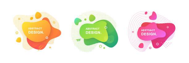 ilustrações, clipart, desenhos animados e ícones de jogo de elementos gráficos modernos abstratos. jogo de formas e de bandeiras líquidas do inclinação. - abstract