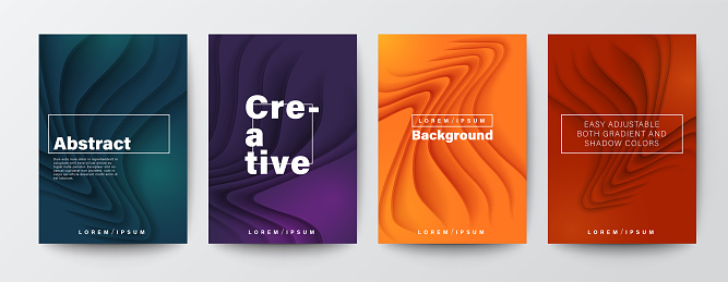 Set of abstract organic curved wave shape on dark colors background for Brochure, Flyer, Poster, leaflet, Annual report, Book cover, Graphic Design Layout template, A4 size