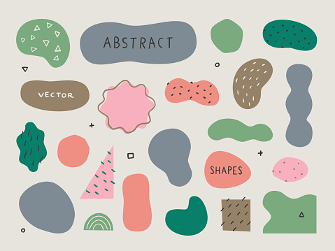 Set of abstract organic shapes and textures for design layouts — hand-drawn vector elements
