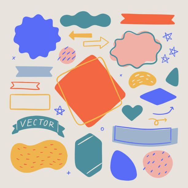 用於設計佈局的抽象有機形狀和紋理集 – 手繪向量元素 - 形狀 幅插畫檔、美工圖案、卡通及圖標