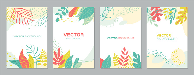 Set of abstract plants backgrounds with empty space for text, bright banners posters