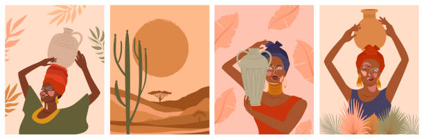 illustrazioni stock, clip art, cartoni animati e icone di tendenza di set of abstract posters with african woman, ceramic vase and jugs, plants, abstract shapes and landscape. - woman portrait forest