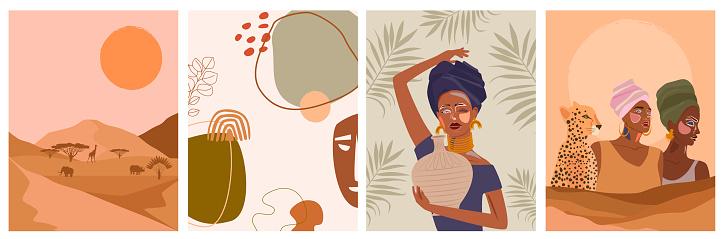 Conjunto de carteles abstractos con mujer africana, jarrón de cerámica y jarras, plantas, formas abstractas y paisaje.