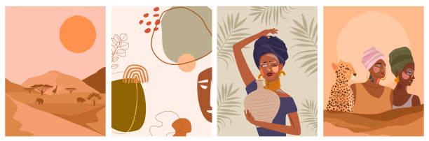 illustrazioni stock, clip art, cartoni animati e icone di tendenza di set di manifesti astratti con donna africana, vaso in ceramica e brocche, piante, forme astratte e paesaggio. - woman portrait forest