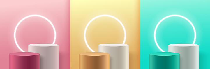 Set of abstract round display for product on website in modern. Pastel background rendering with podium and minimal texture wall scene, 3d rendering geometric shape white grey pink gold green color.