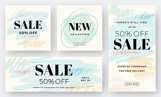 Set of Abstract Sale Backgrounds