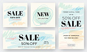 Modern abstract web banners, sale backgrounds. Retail graphics. Social media banners.