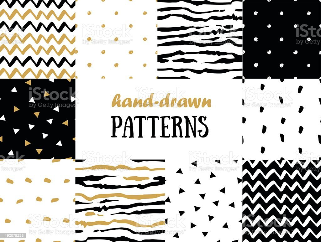 Set of abstract seamless patterns in gold, vector art illustration