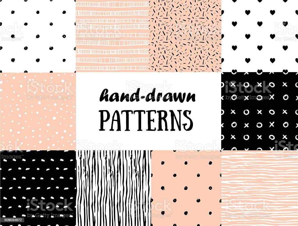 Set of abstract seamless patterns in pink, white and black vector art illustration